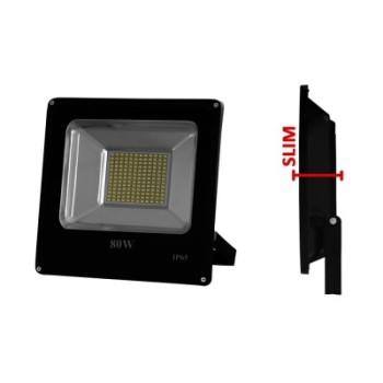 Faro ip65 a led ultrasottile nero 80Watt dimmerabile, ideale per capannoni, tendoni fieristici, musei e palazzi.