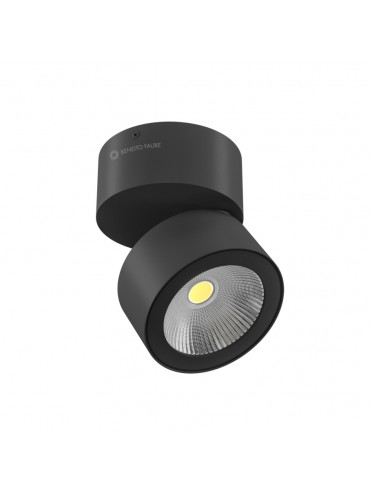 Applique a led rotonda nera orientabile da 14w, tricolore. Ideale nelle vetrine, negli spazi espositivi o mobilifici. Moderna.