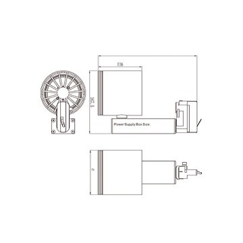 Faro da binario a led da 32W ideale da sostituire i vecchi fari da binario trifase, per showroom o negozi.