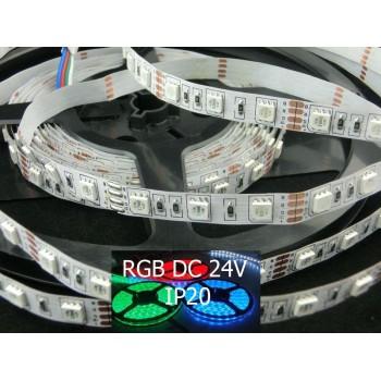 Striscia a led Rgb da 14,4w/mt in 24V ideale per creare giochi di luce o atmosfera.