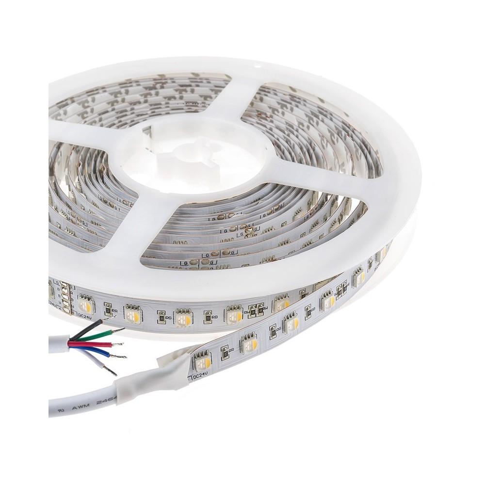 Striscia a led Rgb white da 14,4w/mt in 24V ideale per creare giochi di luce e d'atmosfera