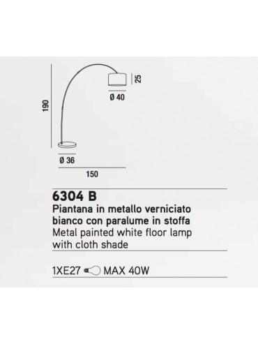 Lampada da terra ad arco 6304 bianca perenz ideale per salotti, camere da letto, uffici professionali. Piantana elegante.