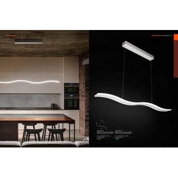 Sospensione onda a led in metallo e plexiglass da 50W. Moderna e ideale nelle abitazioni, showroom e uffici.