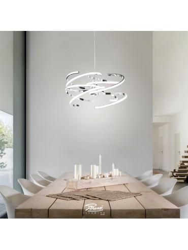 Sospensione in metallo cromo lucido da 70W. Moderno e ideale nelle ville, in showroom, uffici o negozi