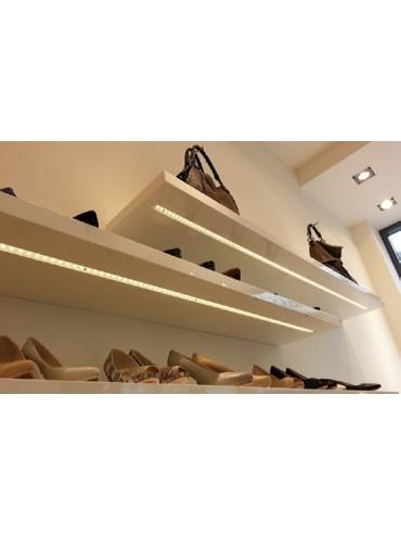 Profilo in alluminio piatto con copertura per strisce a led, ideale sottopensile, interno mobili e sopra pensili