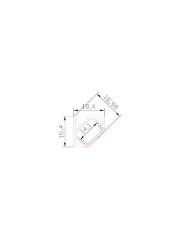 Profilo in alluminio angolare per strisce a led con copertura, da applicare sottopensile e negli angoli tra parete e soffitto