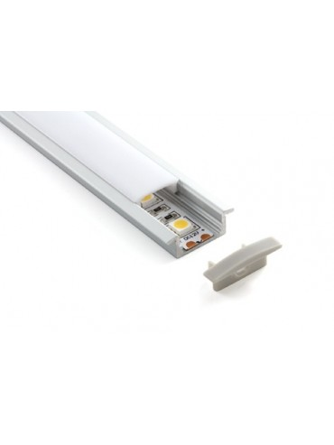Profilo in alluminio da incasso con copertura per strisce a led, ideale da incasso nel cartongesso o legno