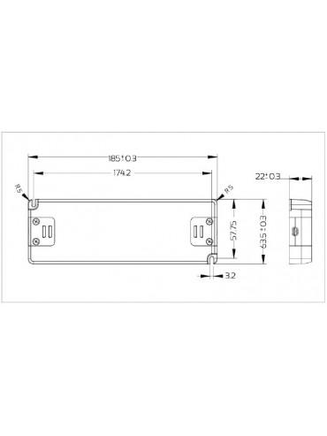 Alimentatore Snappy 50W 24V. Ideale da utilizzare anche fuori dalle scatole di derivazione, per strisce a led.