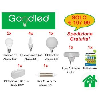 Kit family con lampadine e27, e14, r7s, una luce antibuio, una plafoniera ip65 e un blister di stilo AA. Qualità e convenienza