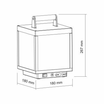 Lanterna a led da 5w, a batteria. IP54, da esterno. Lanterna corten. Ideale sui tavoli esterni o nei locali per arredamento.