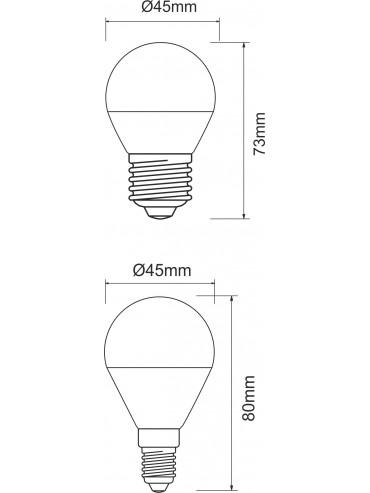 Lampadina a led minisfera 5w attacco E27. Ideale da sostituire alle lampadine a incandescenza. Lampadina a led molto luminosa.