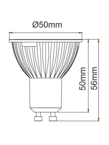 Faretto a led da 6w ideale per i corridoi, cucine, stanze da letto, negozi o esposizioni. Attacco gu10 a 230 volt.