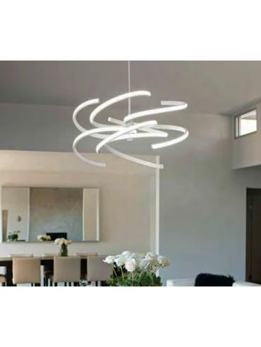 Sospensione in metallo bianco da 70W. Moderno e ideale nelle ville, in showroom, uffici o negozi. 6396 B Perenz.