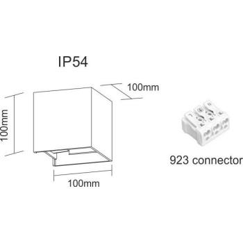 Applique a led da parete, nera da 6,8 watt. Con alette regolabili per creare disegni di luce. IP54 da esterno. Dimensioni
