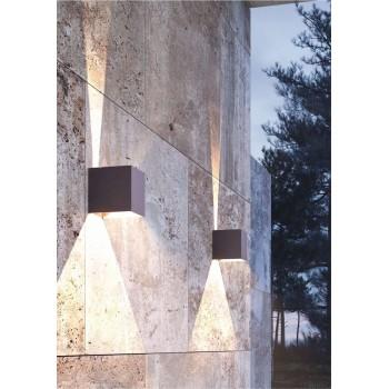 Applique a led da parete corten da 6,8 watt. Con alette regolabili per creare disegni di luce. IP54 da esterno.