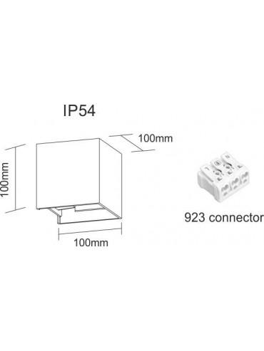 Applique a led da parete corten da 6,8 watt. Con alette regolabili per creare disegni di luce. IP54 da esterno. Dimensioni