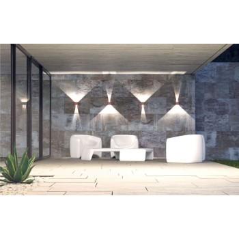 Applique a led da parete bianca da 6,8 watt. Con alette regolabili per creare disegni di luce. IP54 da esterno.