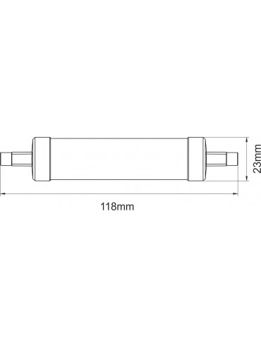 Lampadina a led R7s 118mm 1W diametro ø23mm, 1280 lumen. Sostituisce le lampadine alogene. Dimmerabile.