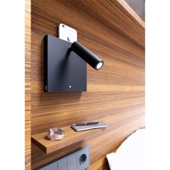 Applique a led da 4w da camera da letto con usb, luce touch e ricarica a induzione. Applique da comodino nera.