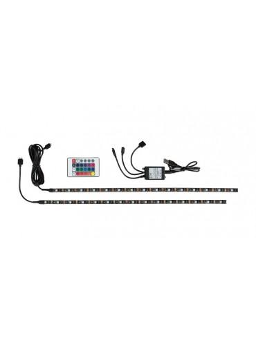 KIT con 2 strisce a LED Rgb e telecomando ideali per giochi di luce dietro la televisione