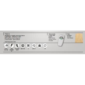 Ventilatore bianco da soffitto,  7130 B con 3 pale, kit luce per 2 lampadine E27. Ideale nei salotti o camere da letto