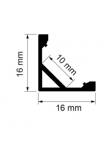 Kit profilo angolare da 2 metri con copertura satinata, 2 tappi e 2 clips compresi. Profilo in alluminio anodizzato.