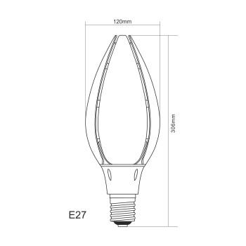 Lampadina a led da 80w 2200K attacco E27 per campane industriali e lampioni stradali.