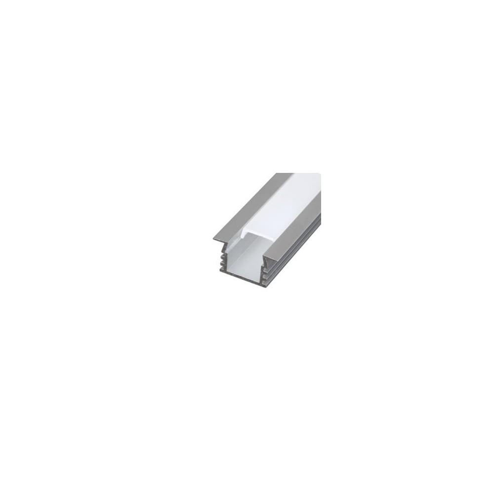 Kit Profilo da incasso da 2metri con copertura satinata, 2 tappi e 2 clips. Per strisce a led.