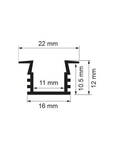 Kit Profilo da incasso da 2metri con copertura satinata, 2 tappi e 2 clips. Per strisce a led. Dimensioni