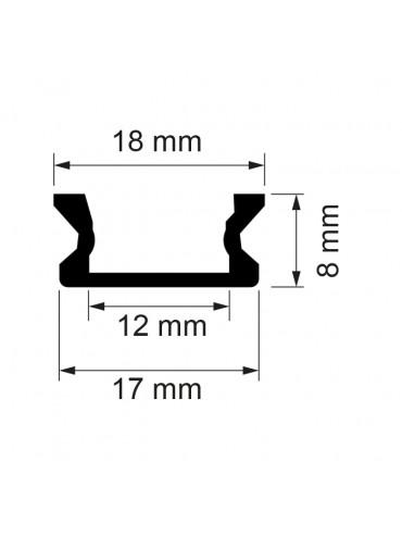 Kit profilo piatto da 2m con copertura satinata, 2 tappi e 2 clips. Per strisce a led. Dimensioni