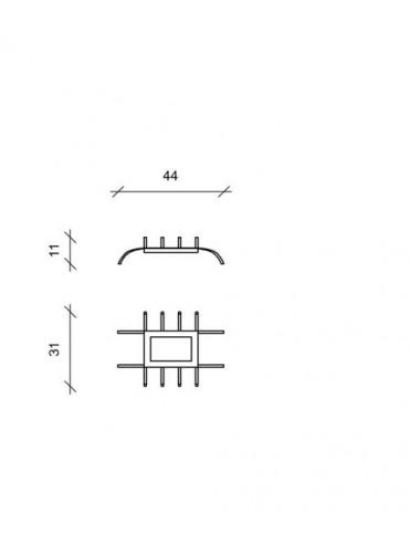 Braciere con base in metallo e legni ignifughi per camini in disuso. 2 bruciatori per bioetanolo. Dimensioni