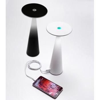Lampada a led da tavolo Dama Bianca ricaricabile con batteria fino a 9 ore. Da esterno IP54. Ingresso USB e funzione powerbank.