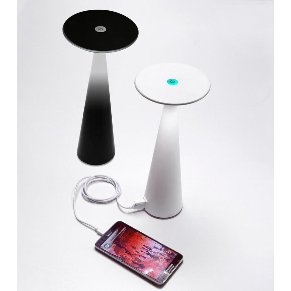 Lampada a led da tavolo Dama Nera ricaricabile con batteria fino a 9 ore. Da esterno IP54. Ingresso USB e funzione powerbank.