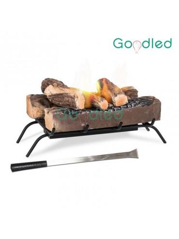 Braciere con base in metallo e legni ignifughi per camini in disuso. 2 bruciatori per bioetanolo.