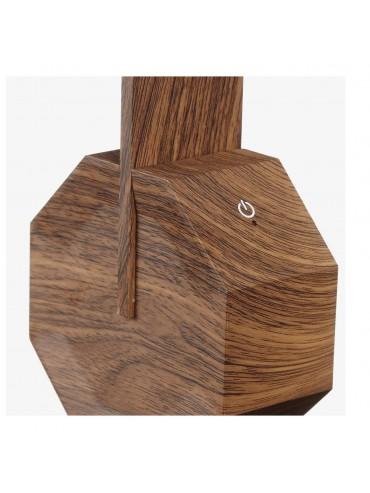 Lampada a led da scrivania Gingko Octagon One Walnut accensione touch, lampada di design moderno