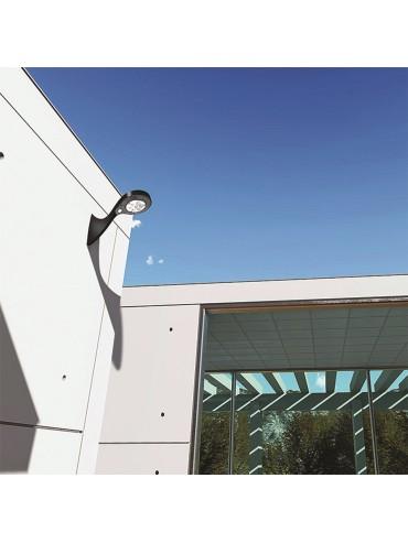 Faretto a led solare da parete da 200lm crepuscolare e sensore di presenza. Ideale per luoghi senza corrente elettrica.