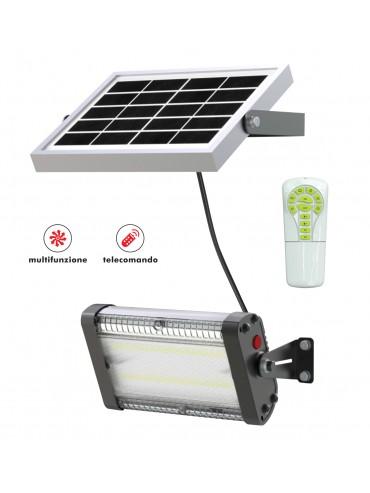 Proiettore a led solare da parete da 1000lm multifunzione con telecomando. Ideale per luoghi senza corrente elettrica.