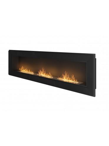 Biocamino da incasso a parete Frame 1800 SimpleFire in bioetanolo con tre bruciatori. Nero.