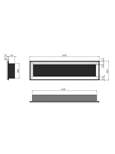 Biocamino da incasso a parete Frame 1800 SimpleFire in bioetanolo con tre bruciatori. Dimensioni