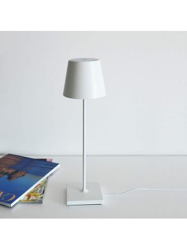 Lampada a led da tavolo Poldina Pro Bianca ricaricabile e dimmerabile con batteria fino a 9 ore. Da esterno IP54.