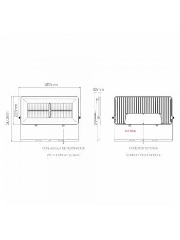 Faro a led Polaris 200W IP65 ideale da installare nei capannoni, magazzini industriali, chiese o musei. Dimensioni