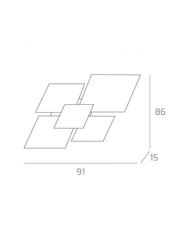 Plafoniera da soffitto o parete elegante e moderna. In metallo e vetro. Top Light. 1088/90-FO. Dimensioni.