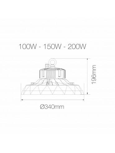 """Lampada a led industriale """"UFO"""" da 150w e 24000lm. Sostituisce le vecchie campane da 400w. Ideale nei capannoni e magazzini."""