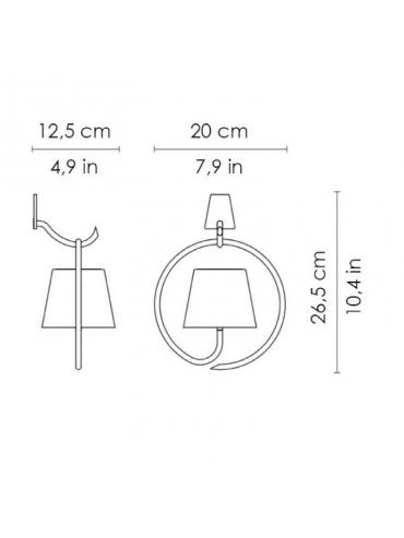 Lampada a led da parete con gancio Poldina Corten ricaricabile e dimmerabile con batteria fino a 9 ore. Da esterno IP54.