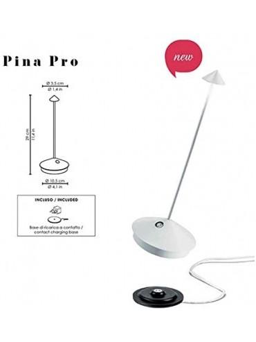 Lampada a led da tavolo Pina Pro Bianca ricaricabile e dimmerabile con batteria fino a 9 ore. Da esterno IP54.