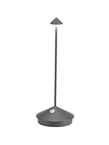 Lampada a led da tavolo Pina Pro Grigio Scuro ricaricabile e dimmerabile con batteria fino a 9 ore. Da esterno IP54.