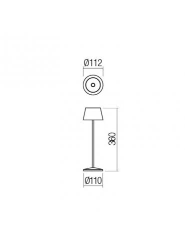 Lampada a led da tavolo La Nuit Grigio Scuro portatile, ricaricabile e dimmerabile con batteria fino a 9 ore. Da esterno IP65.