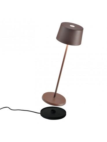 Lampada a led da tavolo Olivia Pro Corten ricaricabile e dimmerabile con batteria fino a 9 ore. Da esterno IP65.