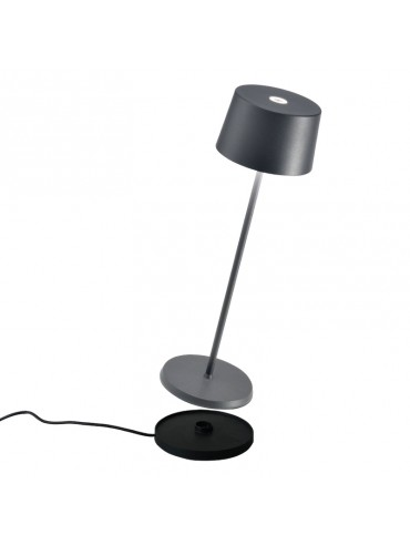 Lampada a led da tavolo Olivia Pro Grigio Scuro ricaricabile e dimmerabile con batteria fino a 9 ore. Da esterno IP65.