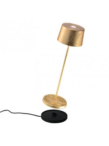 Lampada a led da tavolo Olivia Pro Foglia Oro ricaricabile e dimmerabile con batteria fino a 9 ore. Da esterno IP65.